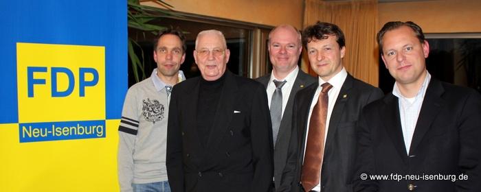 v.l.n.r.: FDP-Stadtrat Andreas Frache, Referent Jürgen Fielstette, stv. Vorsitzender Richard Krüger, Vorsitzender Jörg Müller, 2. stv. Vorsitzender Thilo Seipel