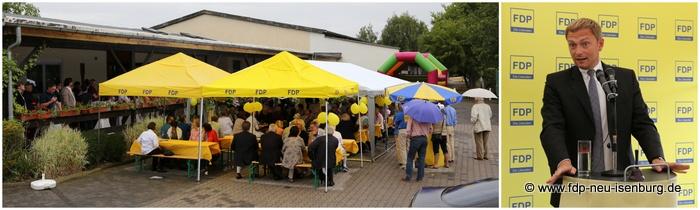 Bild links: Gut besuchtes Sommerfest der FDP OF Land. Bild rechts: Christian Lindner, stellv. Bundesvorsitzender der FDP und Vorsitzender der FDP NRW.