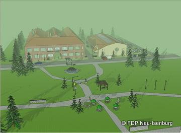 """""""Hugenottenpark"""" mit Blick auf die BfB Gebäude."""