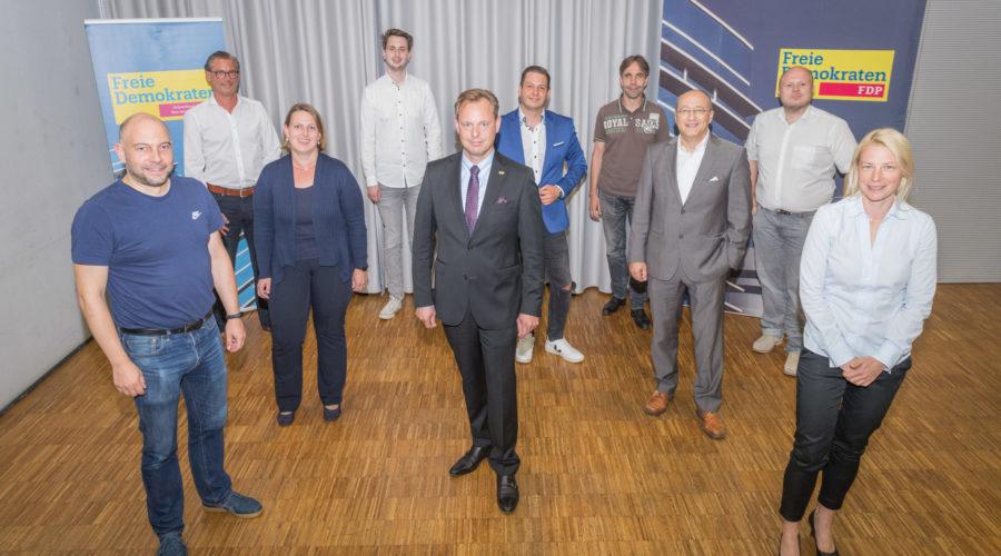 Unsere Spitzenkandidaten (v.l.n.r.): Alexander Jungmann, Dr. Philip Sänger, Inga Mielmann-Seipel, Luka Sinderwald, Thilo Seipel, Simon Gröpler, Andreas Frache, Michael Seibt, Dirk Stender, Susann Guber.
