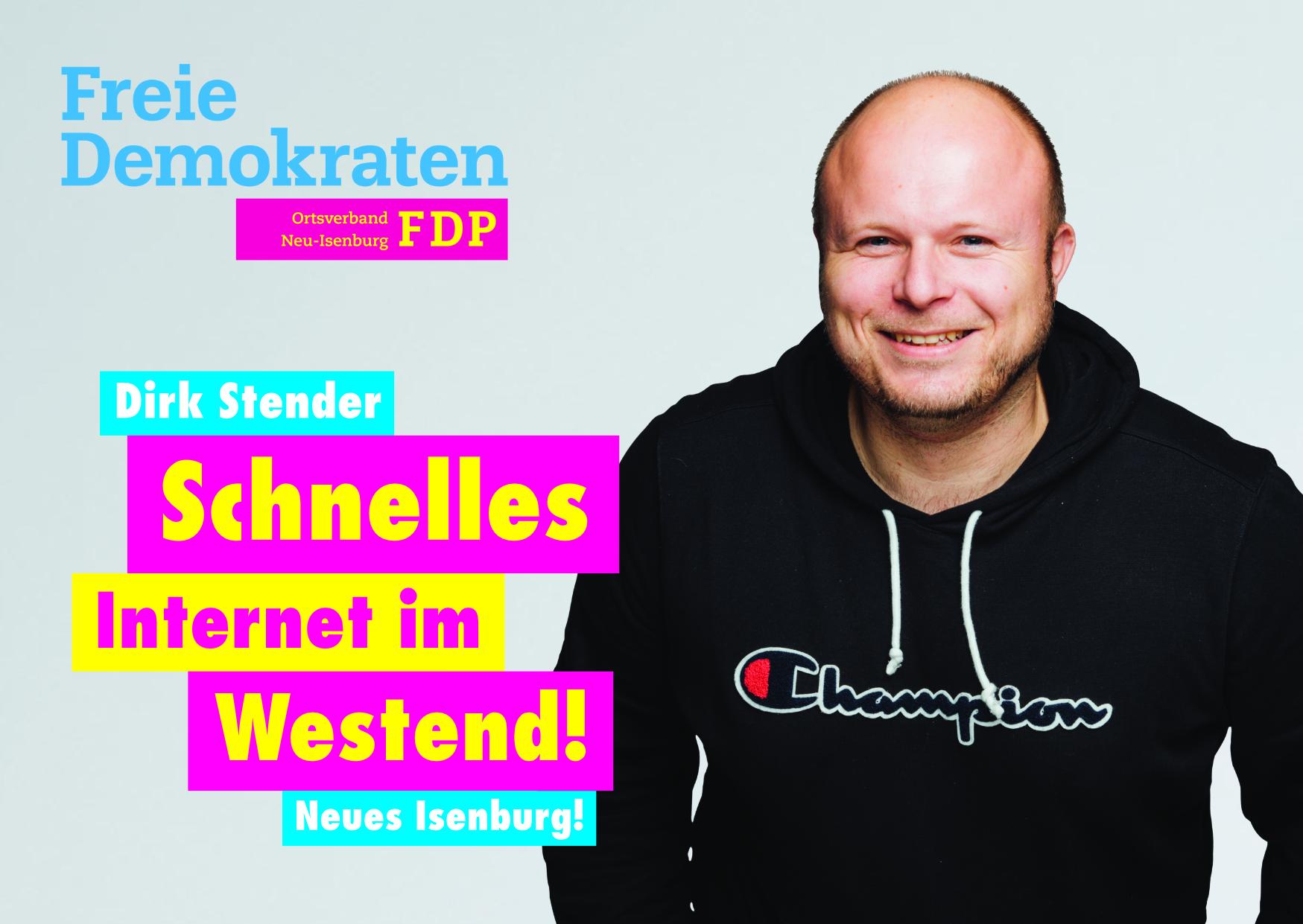 Dirk Stender, Listenplatz 8. zur Kommunalwahl am 14. März 2021 in Neu-Isenburg.