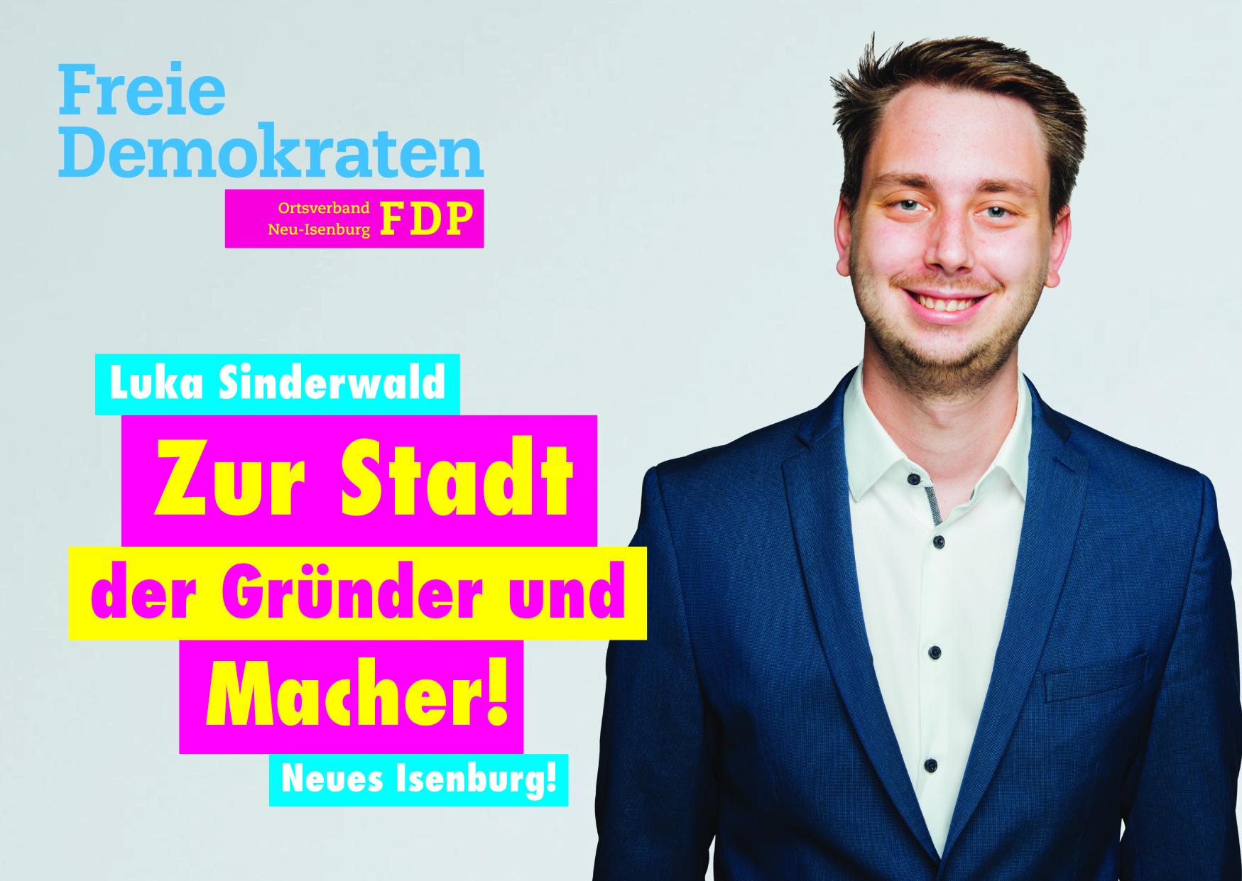 Luka Sinderwald, Listenplatz 3. zur Kommunalwahl am 14. März 2021 in Neu-Isenburg.