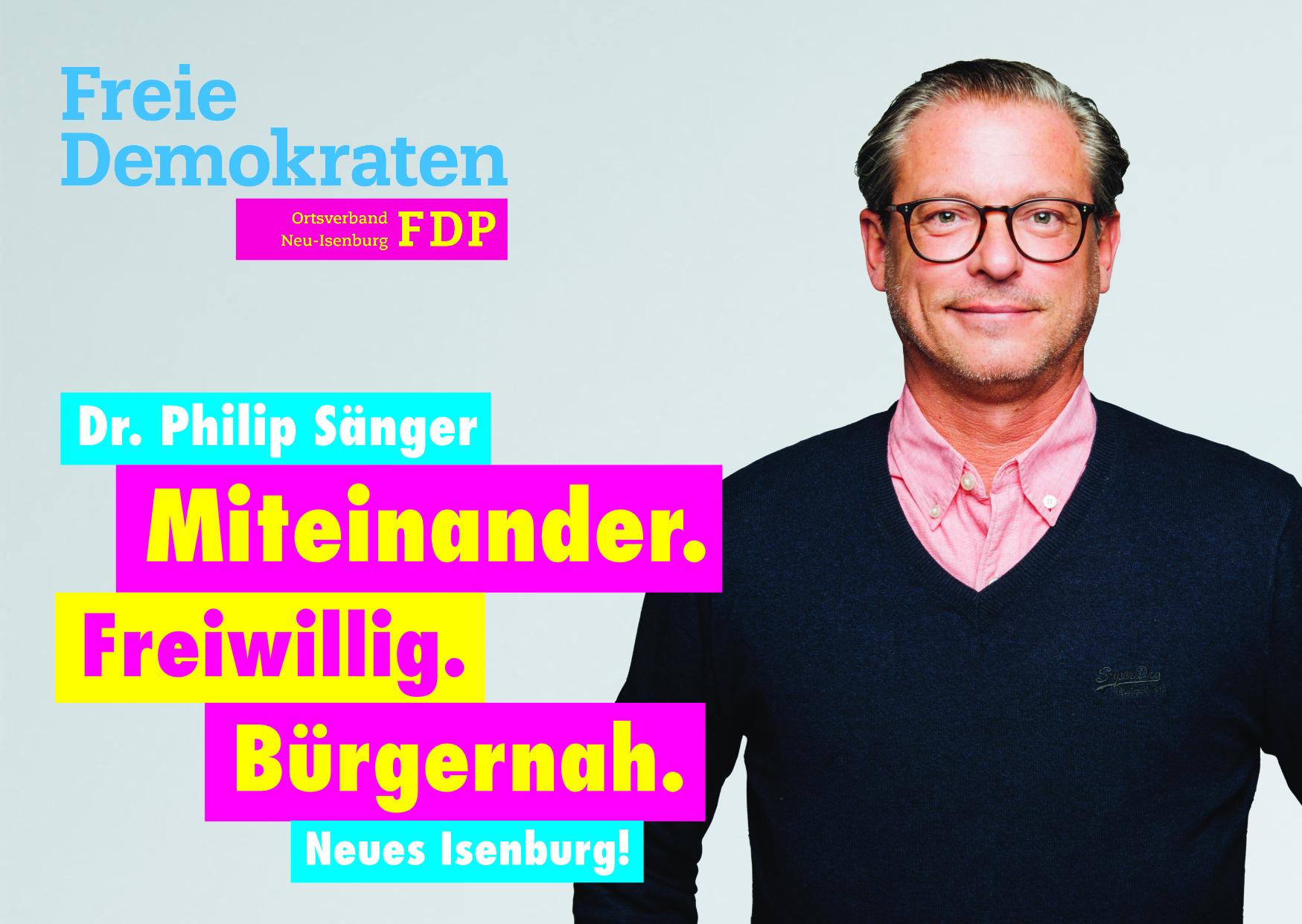 Dr. Philip Sänger, Listenplatz 6. zur Kommunalwahl am 14. März 2021 in Neu-Isenburg.